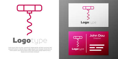 Logotype line Wine corkscrew icon isolated on white background. Logo design template element. Vector Illustration