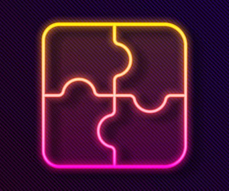 Glowing neon line Piece of puzzle icon isolated on black background. Business, marketing, finance, template, layout, infographics, internet concept. Vector Illustration Vettoriali