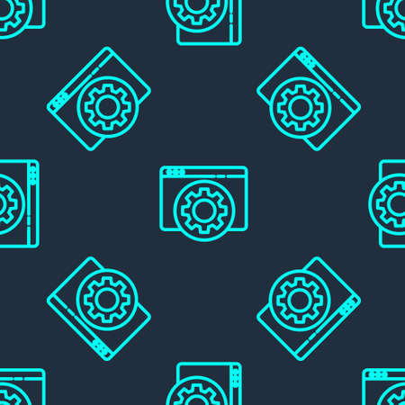 Green line Browser setting icon isolated seamless pattern on blue background. Adjusting, service, maintenance, repair, fixing. Vector Illustration