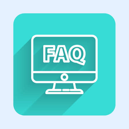 White line Computer monitor and FAQ icon isolated with long shadow. Adjusting, service, setting, maintenance, repair, fixing. Green square button. Vector Illustration