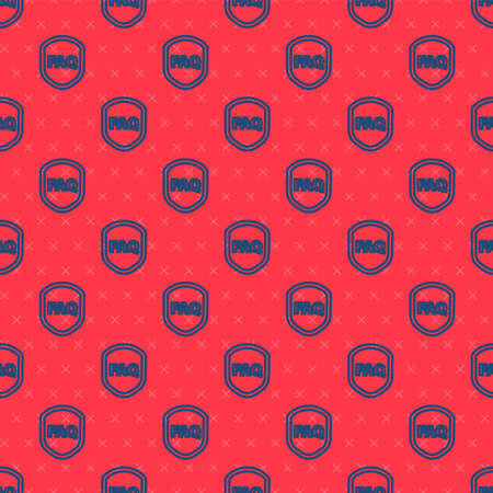 Blue line Shield with text FAQ information icon isolated seamless pattern on red background. Guard sign. Security, safety, protection, privacy concept. Vector Illustration Vettoriali