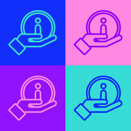 Pop art line Information icon isolated on color background. Vector Illustration