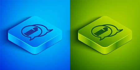 Isometric line Speech bubble with text Help icon isolated on blue and green background. Square button. Vector Illustration
