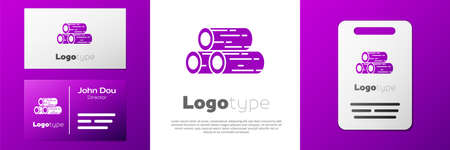 Logotype Wooden logs icon isolated on white background. Stack of firewood. Logo design template element. Vector Illustration