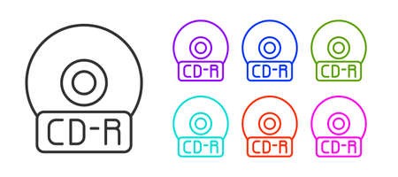 Black line CD or DVD disk icon isolated on white background. Compact disc sign. Set icons colorful. Vector Illustration