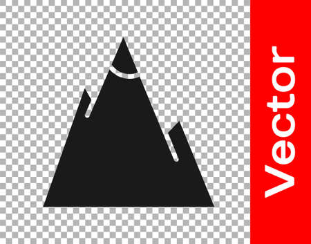 Black Mountains icon isolated on transparent background. Symbol of victory or success concept. Vector Illustration Vectores