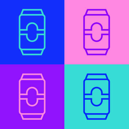 Pop art line Beer can icon isolated on color background. Vector Illustration