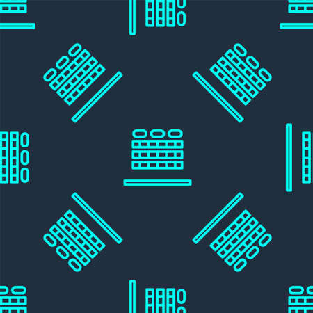 Green line Cinema auditorium with screen and seats icon isolated seamless pattern on blue background. Vector Illustration