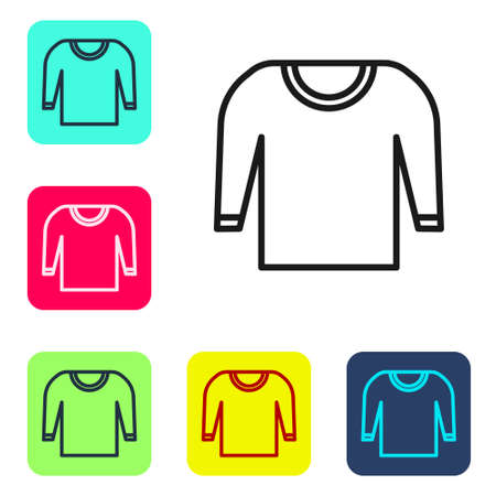 Black line Sweater icon isolated on white background. Pullover icon. Set icons in color square buttons. Vector Illustration