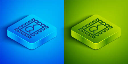 Isometric line Postal stamp icon isolated on blue and green background. Square button. Vector Illustration
