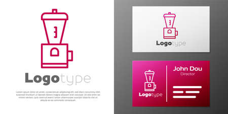 Logotype line Electric coffee grinder icon isolated on white background. Logo design template element. Vector Illustration