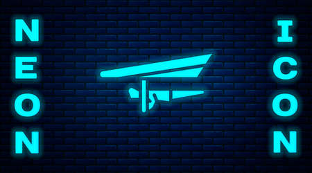 Glowing neon Hang glider icon isolated on brick wall background. Extreme sport. Vector Illustration.