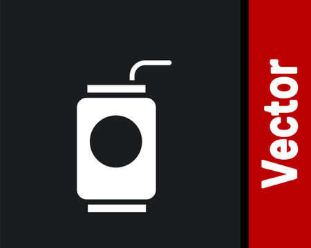 White Soda can with drinking straw icon isolated on black background. Vector Illustration.