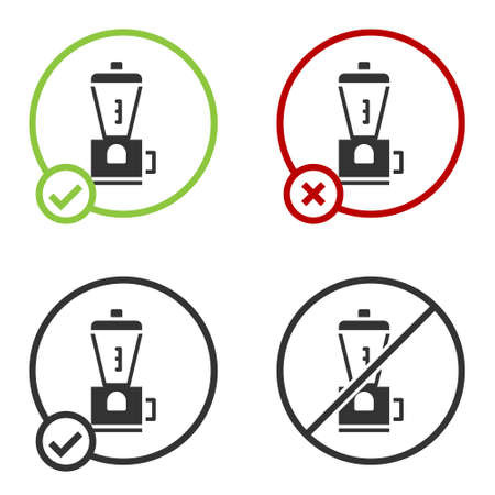 Black Electric coffee grinder icon isolated on white background. Circle button. Vector Illustration