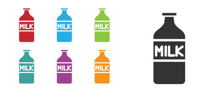 Black Closed glass bottle with milk icon isolated on white background. Set icons colorful. Vector Illustration Çizim
