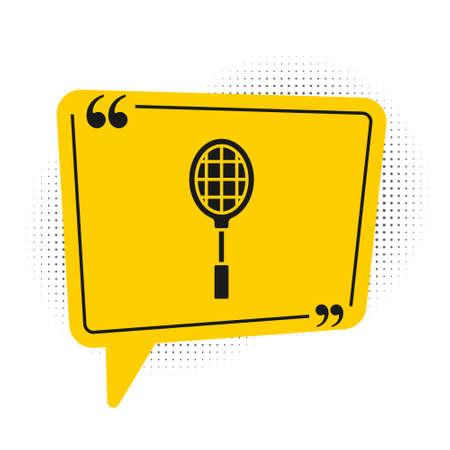 Black Tennis racket icon isolated on white background. Sport equipment. Yellow speech bubble symbol. Vector Illustration