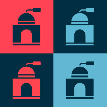 Pop art Manual coffee grinder icon isolated on color background. Vector Illustration