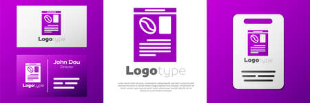 Logotype Newspaper and coffee icon isolated on white background. Mass media symbol. Çizim