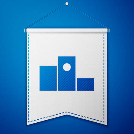 Blue Award over sports winner podium icon isolated on blue background. White pennant template. Vector Illustration