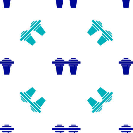 Blue Water filter icon isolated seamless pattern on white background. System for filtration of water. Reverse osmosis system. Vector Illustration.