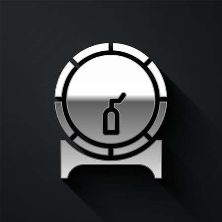 Silver Wooden barrel on rack with stopcock icon isolated on black background. Long shadow style. Vector Illustration