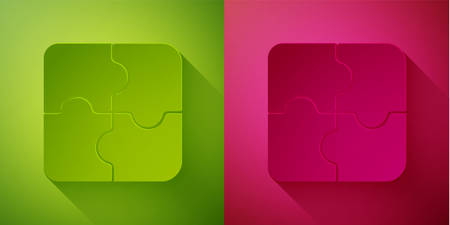Paper cut Piece of puzzle icon isolated on green and pink background. Business, marketing, finance, template, layout, infographics, internet concept. Paper art style. Vector Illustration.