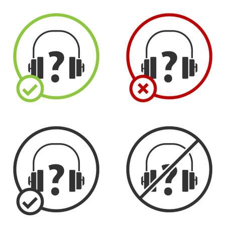 Black Headphones icon isolated on white background. Support customer service, hotline, call center, faq, maintenance. Circle button. Vector Illustration. Ilustracja