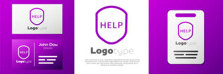 Logotype Shield with text Help icon isolated on white background. Guard sign. Security, safety, protection, privacy concept.