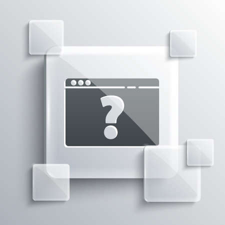 Grey Browser with question mark icon isolated on grey background. Internet communication protocol. Square glass panels. Vector Illustration