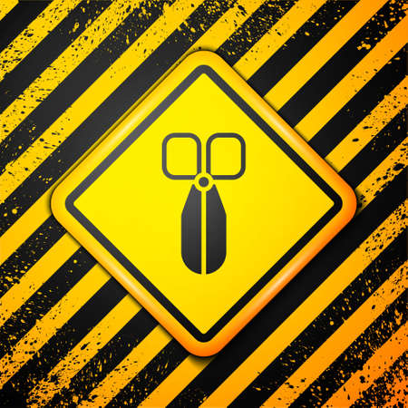 Black Scissors icon isolated on yellow background. Cutting tool sign. Warning sign. Vector Illustration