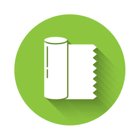 White Textile fabric roll icon isolated with long shadow. Roll, mat, rug, cloth, carpet or paper roll icon. Green circle button. Vector Illustration