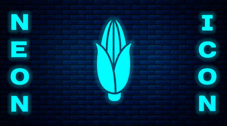 Glowing neon Corn icon isolated on brick wall background. Vector Illustration