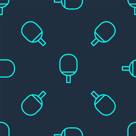 Green line Racket for playing table tennis icon isolated seamless pattern on blue background. Vector Illustration