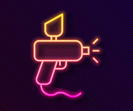 Glowing neon line Paint spray gun icon isolated on black background. Vector Illustration