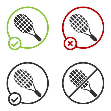 Black Tennis racket icon isolated on white background. Sport equipment. Circle button. Vector Illustration Vectores