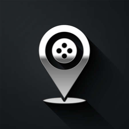 Silver Location tailor shop icon isolated on black background. Long shadow style. Vector Illustration.
