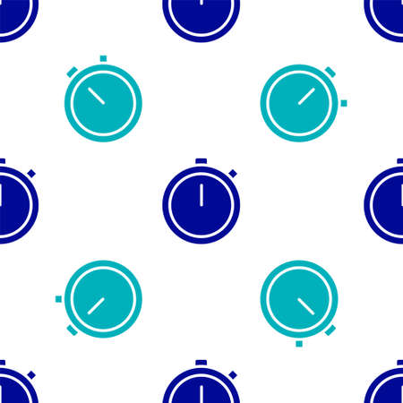 Blue Stopwatch icon isolated seamless pattern on white background. Time timer sign. Chronometer sign. Vector Illustration