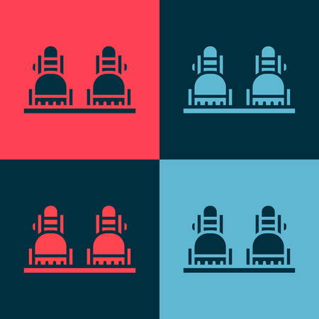 Pop art Snowboard icon isolated on color background. Snowboarding board icon. Extreme sport. Sport equipment. Vector Illustration