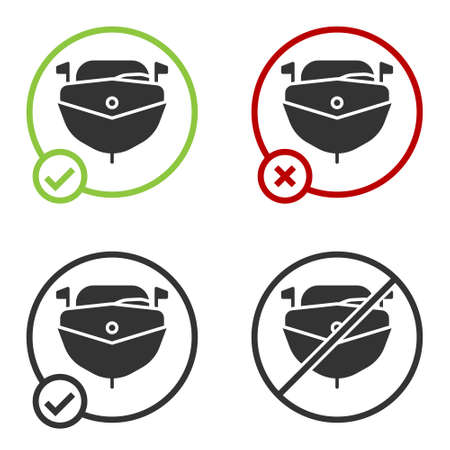 Black Speedboat icon isolated on white background. Circle button. Vector Illustration