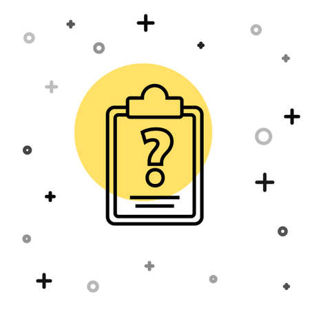 Black line Clipboard with question marks icon isolated on white background. Survey, quiz, investigation, customer support questions concepts. Random dynamic shapes. Vector Illustration.