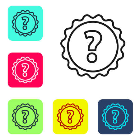 Black line Question mark icon isolated on white background. FAQ sign. Copy files, chat speech bubble and chart. Set icons in color square buttons. Vector Illustration Ilustracja