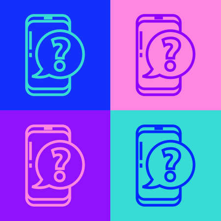 Pop art line Mobile phone with question icon isolated on color background. Vector Illustration Ilustracja