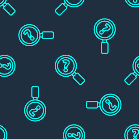 Green line Unknown search icon isolated seamless pattern on blue background. Magnifying glass and question mark. Vector Illustration
