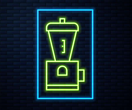 Glowing neon line Electric coffee grinder icon isolated on brick wall background. Vector Illustration.