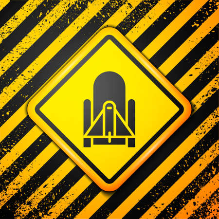 Black Rocket launch from the spaceport icon isolated on yellow background. Launch rocket in space. Warning sign. Vector Illustration