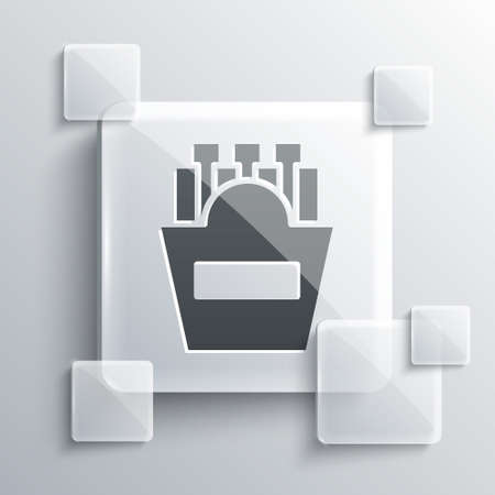 Grey Potatoes french fries in carton package box icon isolated on grey background. Fast food menu. Square glass panels. Vector Illustration Illustration
