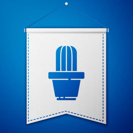 Blue Cactus and succulent in pot icon isolated on blue background. Plant growing in a pot. Potted plant sign. White pennant template. Vector Illustration.