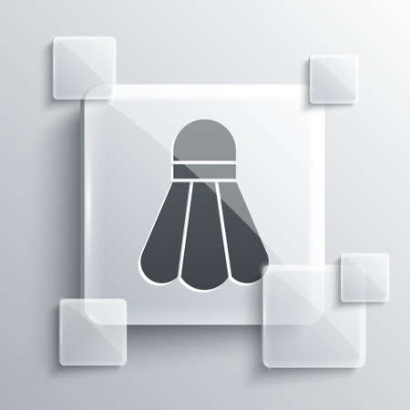 Grey Badminton shuttlecock icon isolated on grey background. Sport equipment. Square glass panels. Vector Illustration
