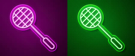 Glowing neon line Tennis racket icon isolated on purple and green background. Sport equipment. Vector Illustration Vectores