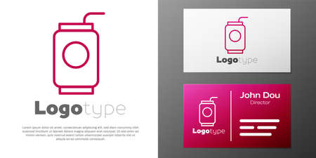 Logotype line Soda can with drinking straw icon isolated on white background.